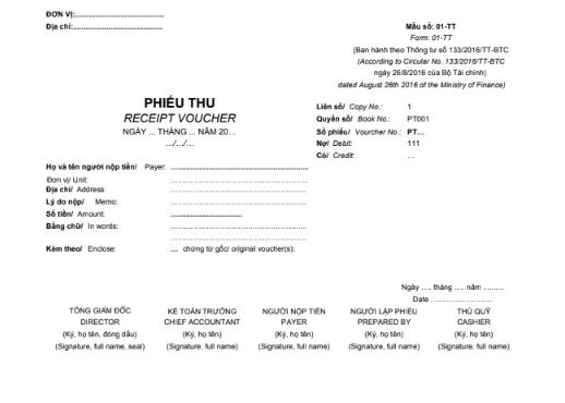 Mẫu phiếu thu (1/2A4)  SONG NGỮ theo TT133/2016/TT-BTC ngày 26/08/2016 của Bộ Tài chính