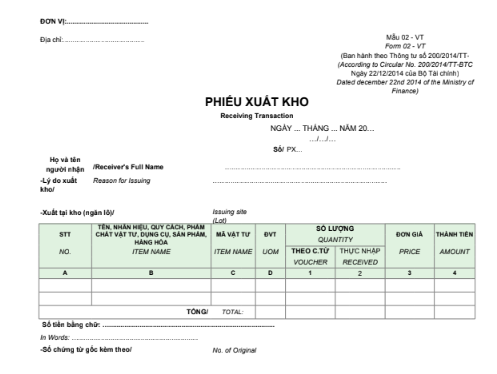 Mẫu phiếu xuất kho - SONG NGỮ theo TT200/2014/TT-BTC ngày 22/12/2014 của Bộ Tài chính