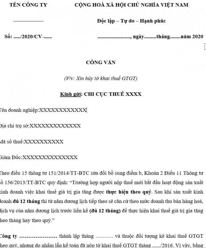 Mẫu công văn xin hủy tờ khai Thuế GTGT do kê khai sai