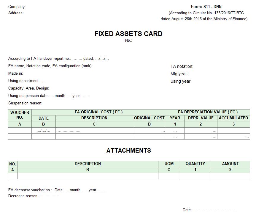Mẫu thẻ tài sản cố định ( TIẾNG ANH - Ngoại tệ ) theo TT 133
