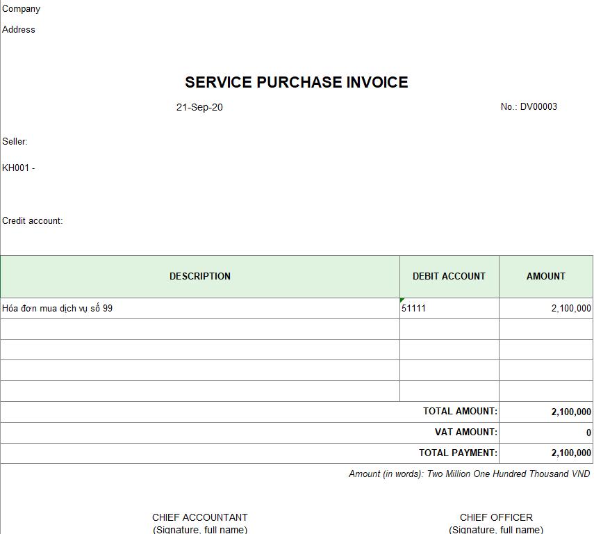 Mẫu hóa đơn mua dịch vụ ( TIẾNG ANH )