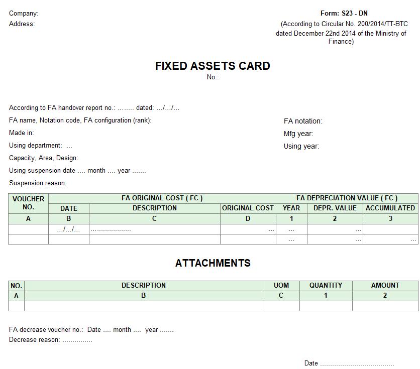 Mẫu thẻ tài sản cố định ( TIẾNG ANH - Ngoại tệ ) theo TT 200