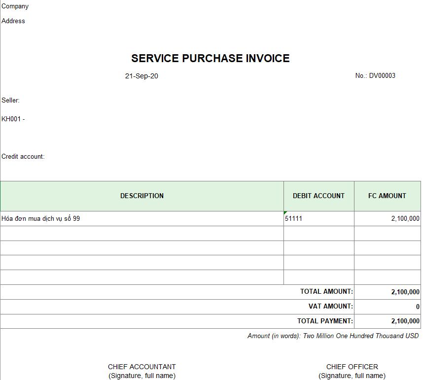 Mẫu hóa đơn mua dịch vụ ( TIẾNG ANH - Ngoại tệ )