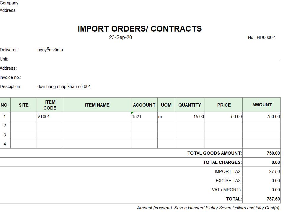 Mẫu đơn hàng nhập khẩu ( TIẾNG ANH )