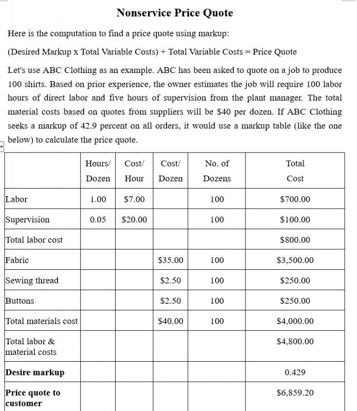 Mẫu báo giá sản phẩm phí dịch vụ - Tiếng Anh