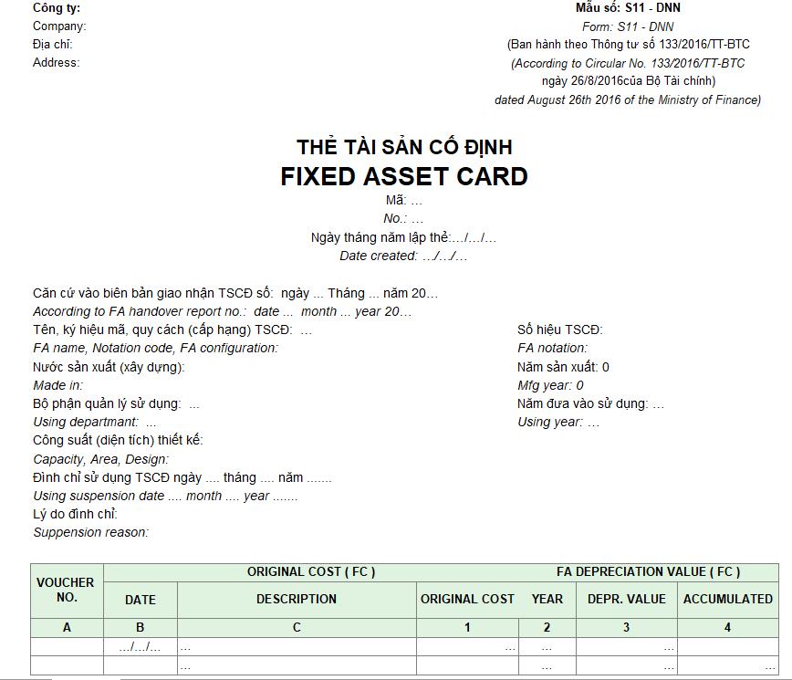 Mẫu thẻ tài sản cố định ( Song ngữ - Ngoại tệ ) theo TT 133