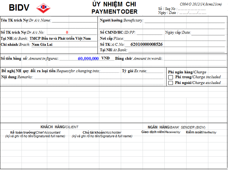 Mẫu giấy ủy nhiệm chi ngân hàng BIDV