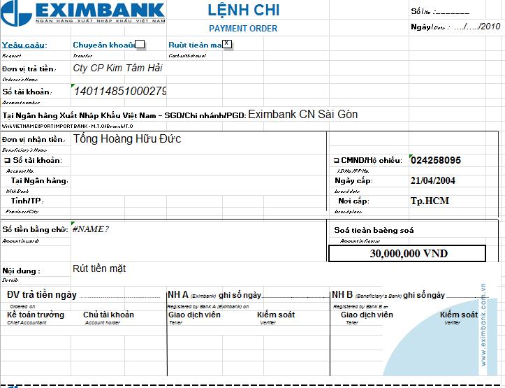 Mẫu giấy lệnh chi ngân hàng EXIMBANK