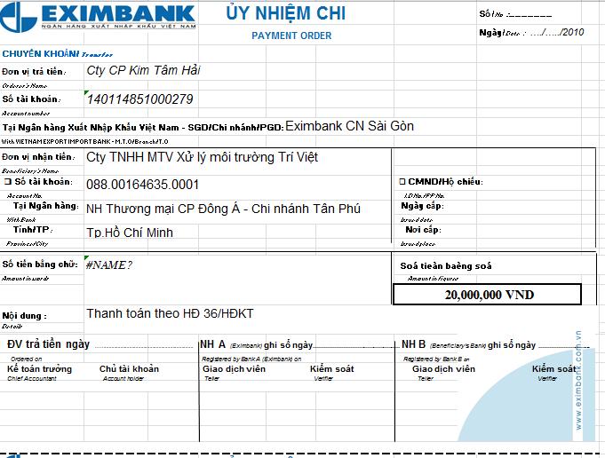Mẫu giấy ủy nhiệm chi ngân hàng EXIMBANK