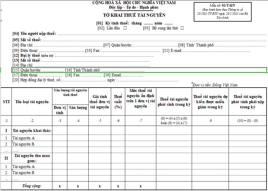 Mẫu số 01/TAIN : Tờ khai thuế tài nguyên