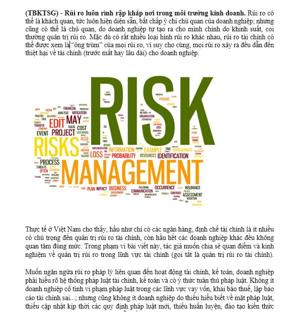 Ngăn ngừa và xử lý rủi ro tài chính