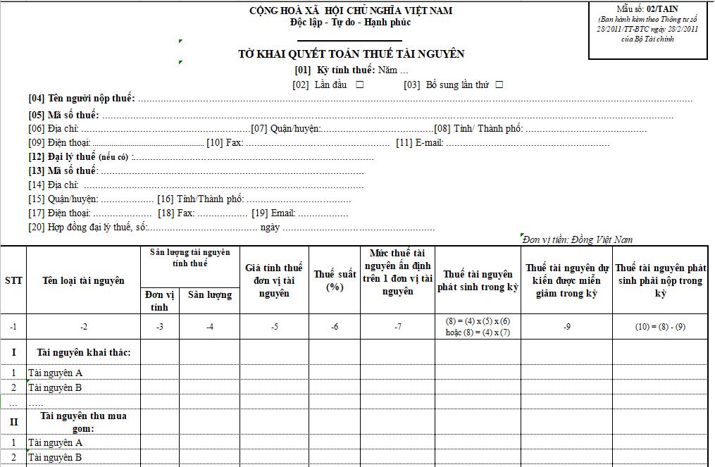 Mẫu số 02/TAIN : Tờ khai quyết toán thuế tài nguyên