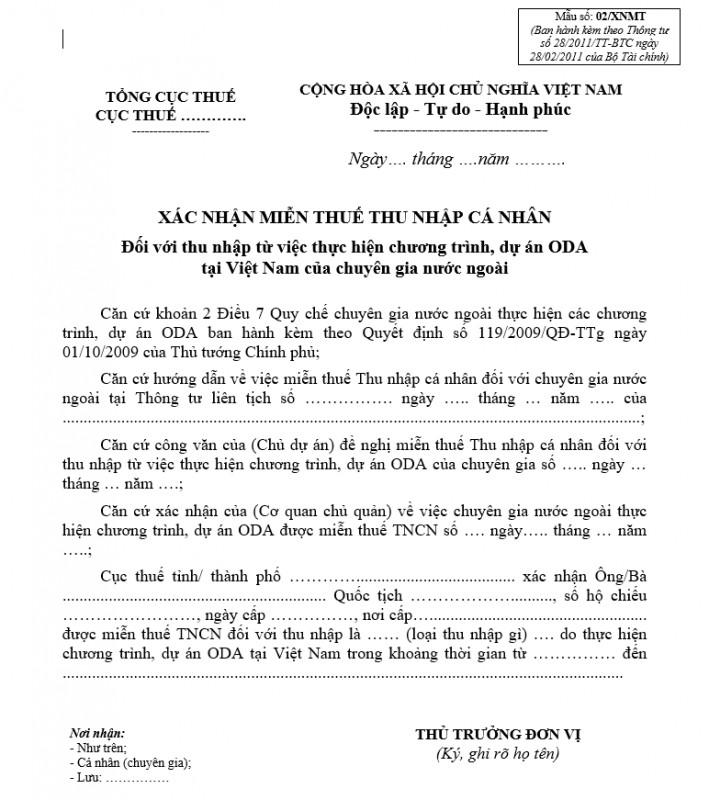 Mẫu số 02/XNMT : Xác nhận miễn thuế TNCN