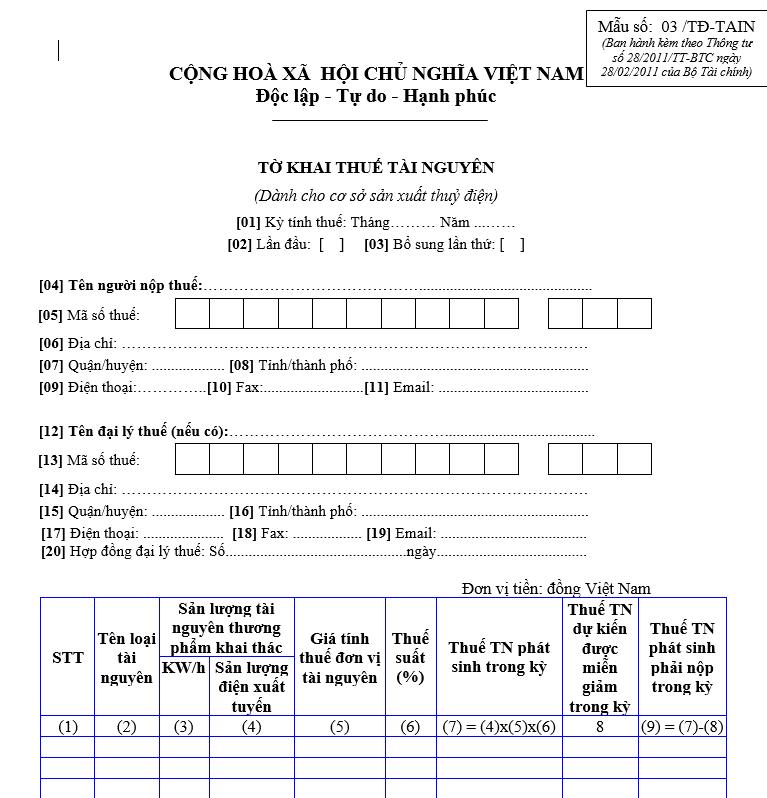 Mẫu số 03/TĐ-TAIN : Tờ khai thuế tài nguyên dành cho cơ sở sản xuất thuỷ điện