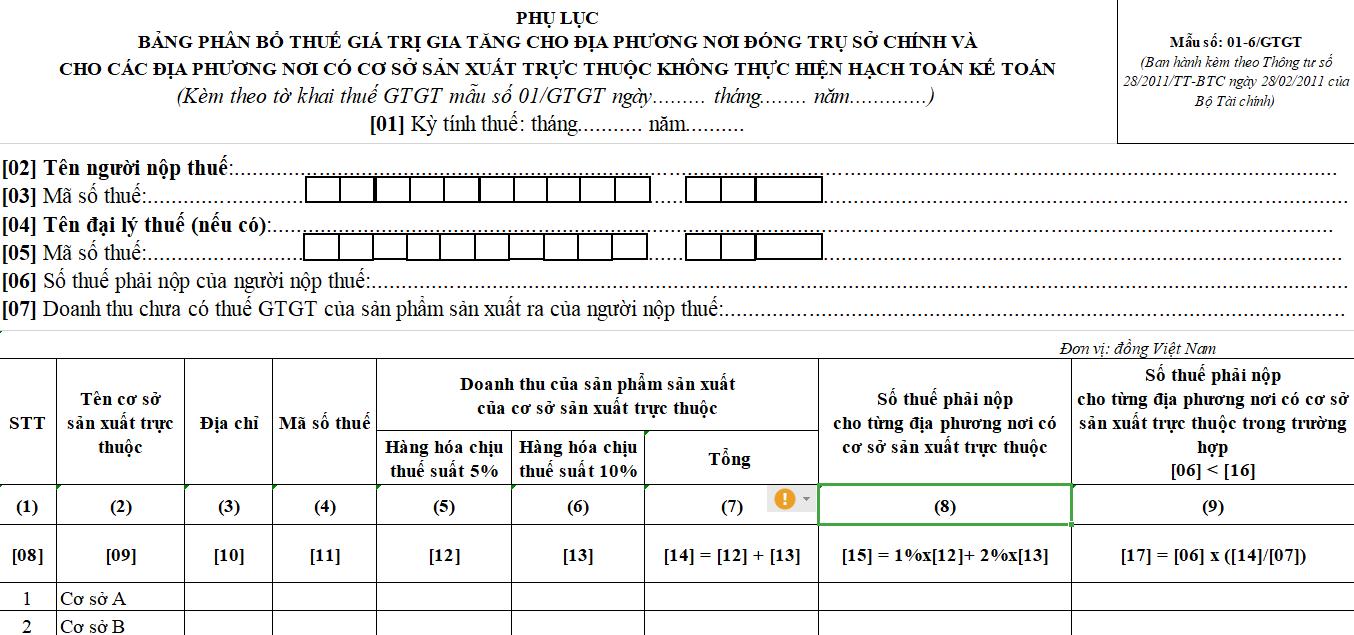 Mẫu số 01-6/GTGT : Bảng phân bổ thuế GTGT cho địa phương nơi đóng trụ sở chính và cho các địa phương nơi có cơ sở sản xuất trực thuộc không thực hiện hạch toán kế toán