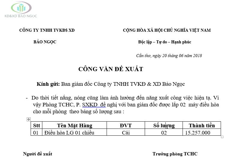 Mẫu công văn đề xuất mua CCDC