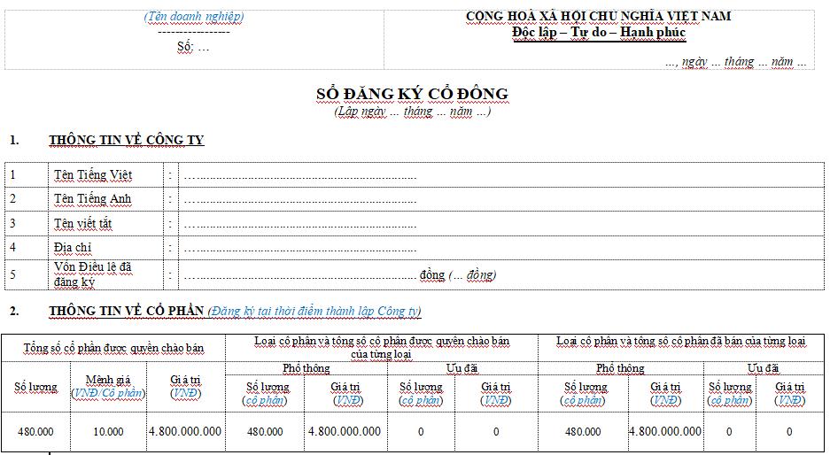 Mẫu sổ đăng ký cổ đông công ty Cổ phần