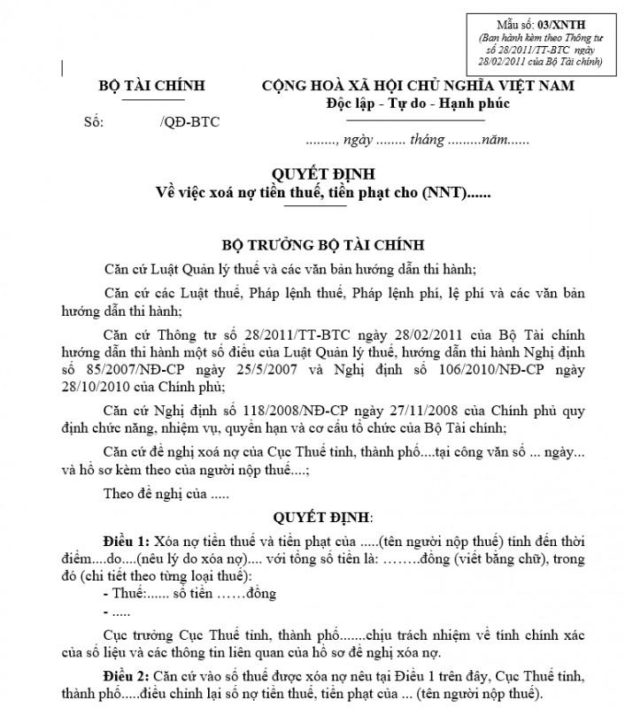 Mẫu số 03/XNTH : Quyết định về việc xoá nợ tiền thuế, tiền phạt cho người nộp thuế
