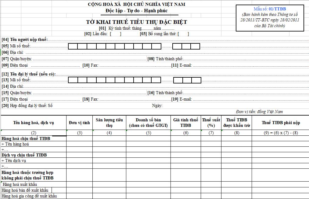 Mẫu số 01/TTĐB : Tờ khai thuế TTĐB