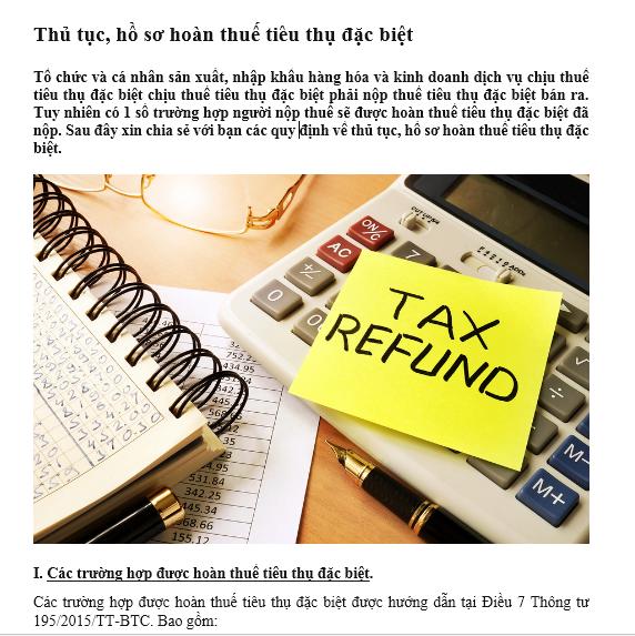 Thủ tục, hồ sơ hoàn thuế tiêu thụ đặc biệt