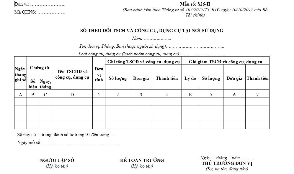 Mẫu sổ theo dõi TSCĐ, CCDC tại nơi sử dụng - Mẫu S22-DN