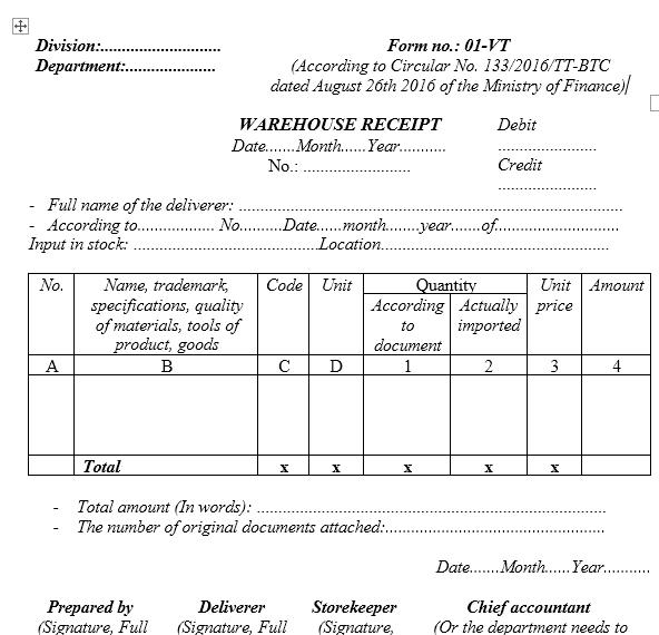 Mẫu phiếu nhập kho - TIẾNG ANH theo TT133/2016/TT-BTC ngày 26/08/2016 của Bộ Tài chính
