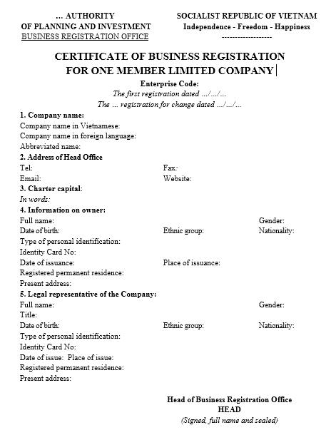 Mẫu giấy đăng ký kinh doanh Công ty TNHH MTV - TIẾNG ANH