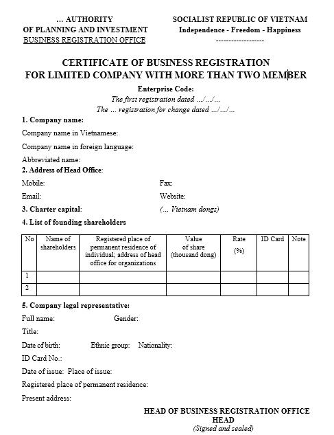Mẫu giấy đăng ký kinh doanh Công ty TNHH 2TV trở lên - TIẾNG ANH