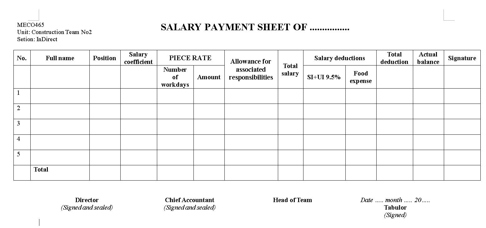 Mẫu Bảng thanh toán tiền lương bằng tiếng Anh