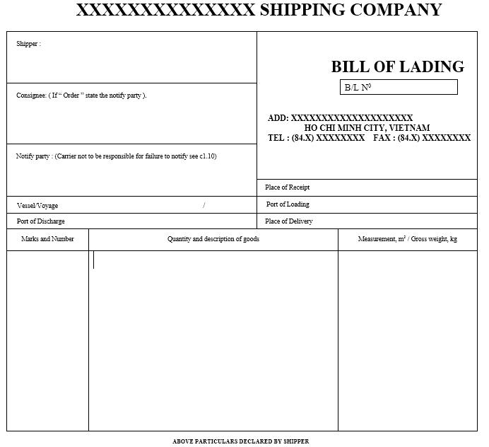Mẫu vận đơn mới nhất - BILL OF LADING