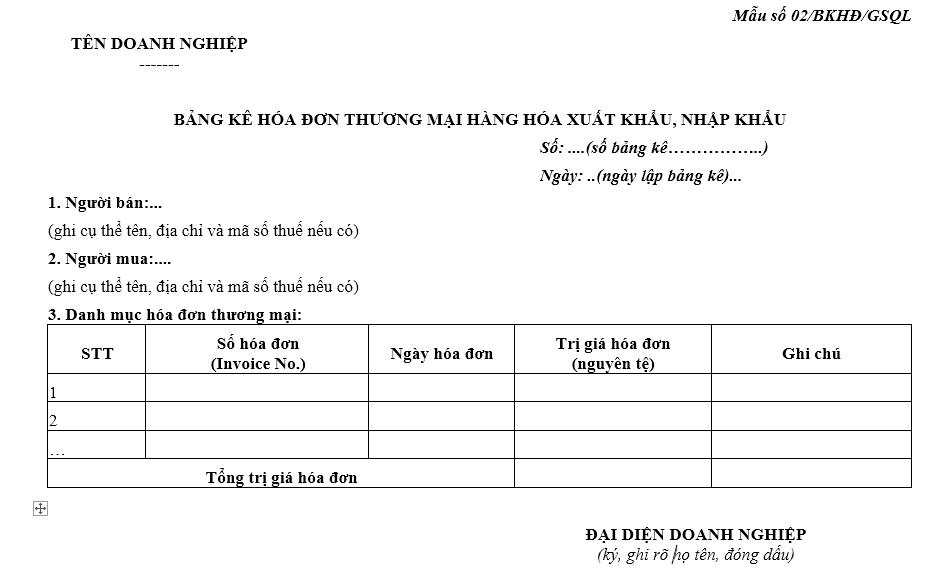 Mẫu bảng kê hóa đơn thương mại hàng hóa xuất khẩu, nhập khẩu