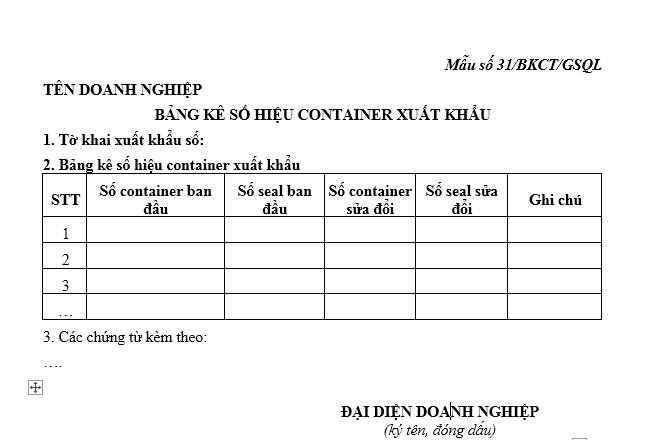 Mẫu bảng kê số hiệu container xuất khẩu