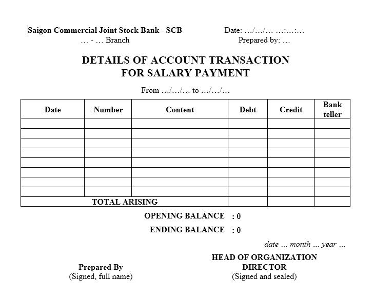 Mẫu bảng sao kê tài khoản Ngân hàng Thương mại Cổ phần Sài Gòn - TIẾNG ANH