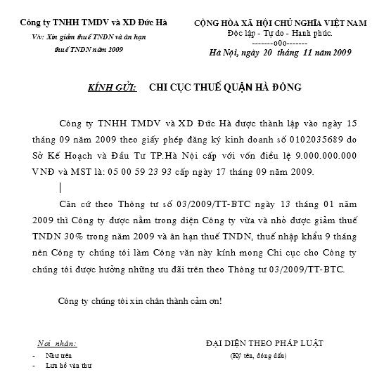 Mẫu CV xin giảm thuế TNCN