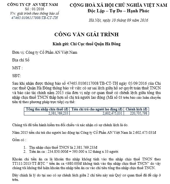 Mẫu CV giải trình sai số thuế TNCN