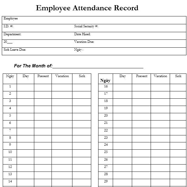 Mẫu điểm danh nhân viên hàng tháng - TIẾNG ANH