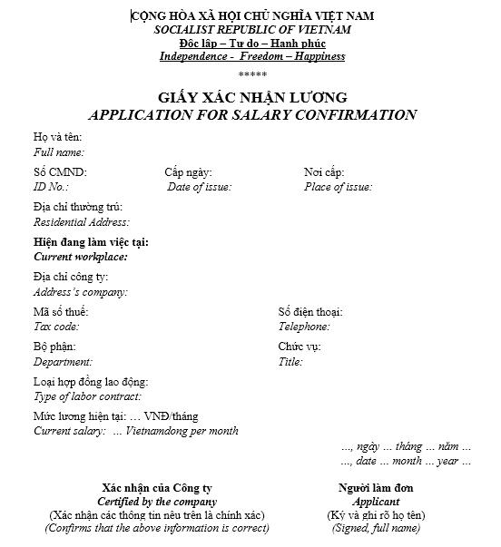 Mẫu giấy xác nhận lương - SONG NGỮ