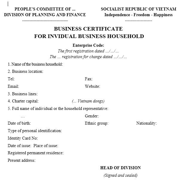 Mẫu giấy chứng nhận đăng ký hộ kinh doanh -TIẾNG ANH