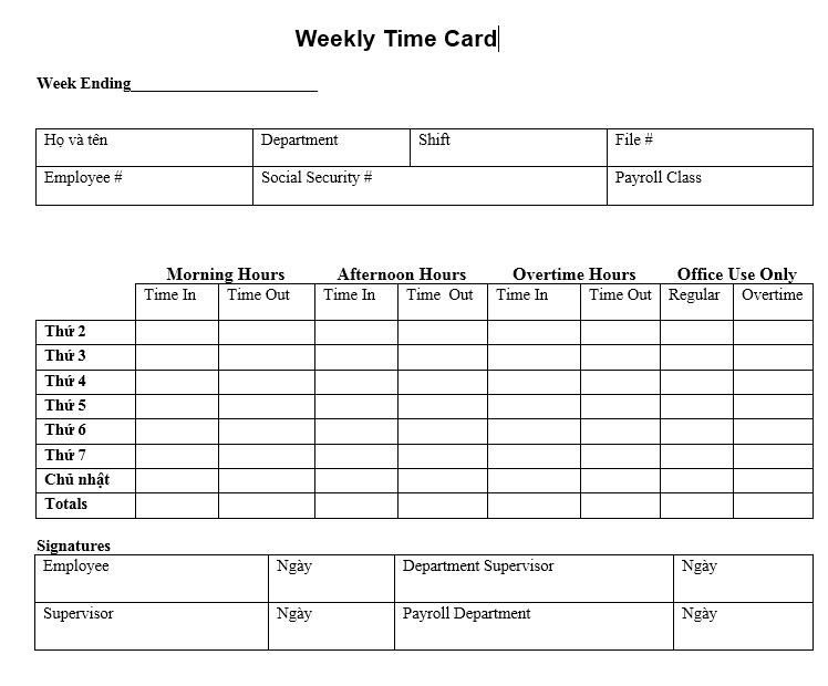 Mẫu bảng theo dõi thời gian làm việc hàng tuần - TIẾNG ANH