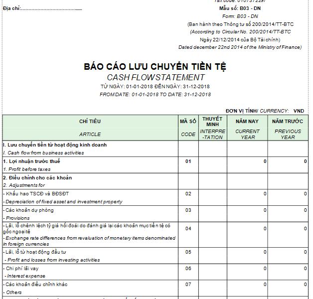 Mẫu báo cáo lưu chuyển tiền tệ theo PP gián tiếp - SONG NGỮ – Thông tư TT200/2014/TT-BTC ngày 22/12/2014 của Bộ Tài chính