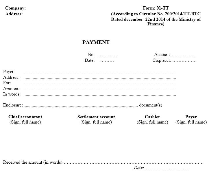 Mẫu phiếu chi -TIẾNG ANH theo TT200/2014/TT-BTC ngày 22/12/2014 của Bộ Tài chính