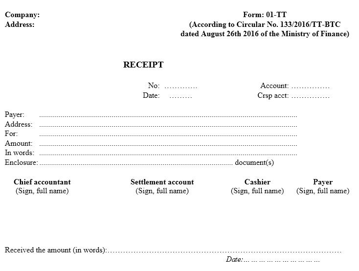 Mẫu phiếu thu TIẾNG ANH theo TT133/2016/TT-BTC ngày 26/08/2016 của Bộ Tài chính