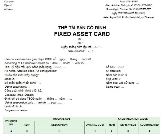 Mẫu thẻ tài sản cố định - SONG NGỮ theo TT200/2014/TT-BTC ngày 22/12/2014 của Bộ Tài chính