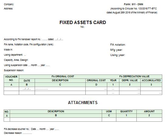 Mẫu thẻ tài sản cố định - TIẾNG ANH theo TT133/2016/TT-BTC ngày 26/08/2016 của Bộ Tài chính