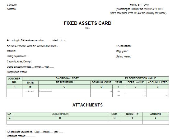Mẫu thẻ tài sản cố định - TIẾNG ANH theo TT200/2014/TT-BTC ngày 22/12/2014 của Bộ Tài chính