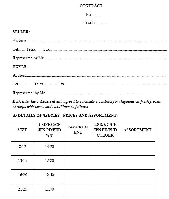 Mẫu hợp đồng xuất khẩu thủy sản - SONG NGỮ