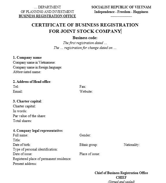 Mẫu giấy đăng ký kinh doanh công ty Cổ phần - TIẾNG ANH
