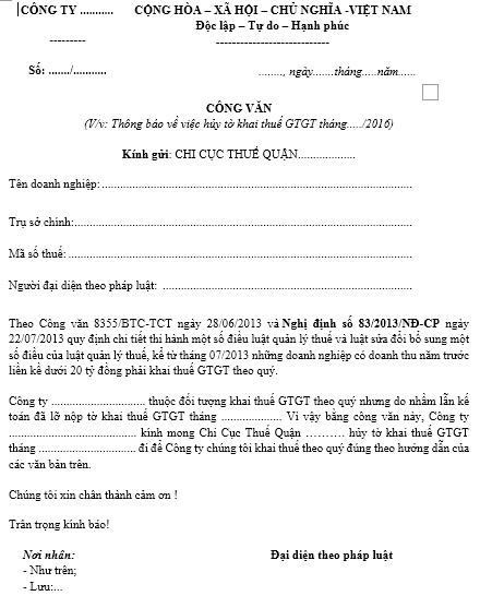 Mẫu CV xin hủy tờ khai thuế GTGT