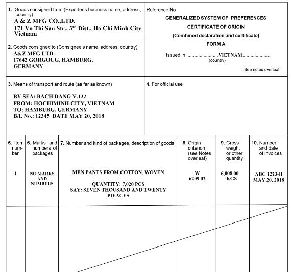 Mẫu C.O form A (C.O ưu đãi thuế quan phổ cấp (GSP) theo quy định cảu nước nhập khẩu)