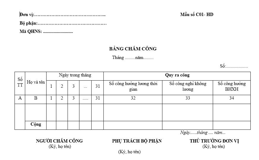 Mẫu bảng chấm công C01a-HD dành cho đơn vị hành chính sự nghiệp